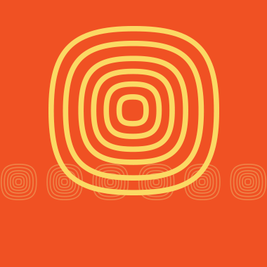 Rounded square of concentric yellow lines on an orange background