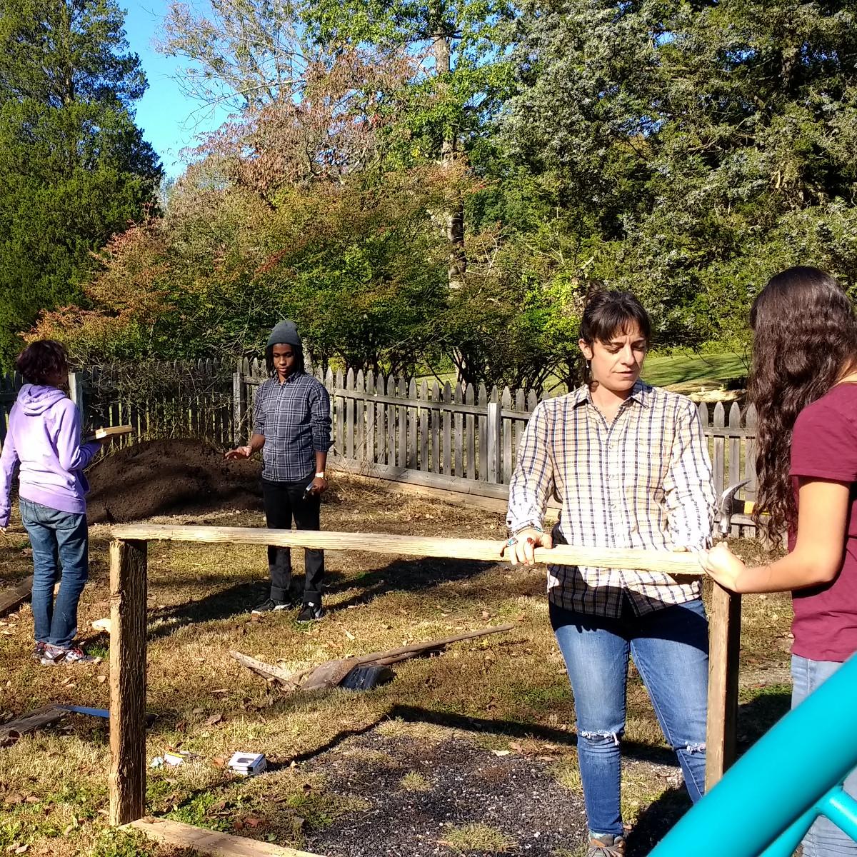 Working in the garden during garden ecology
